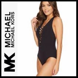 MIchael MK Lace Up Plunging Swimsuit